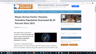 Reading about Annise Parker's Houston Homeless Success